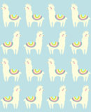 Llama seamless repeating pattern on blue background. Vector illustration. Stock Image
