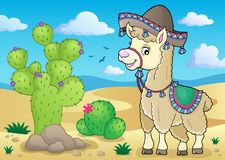 Llama in sombrero theme 2. Eps10 vector illustration royalty free illustration
