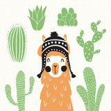 Llama in sombrero. Vector illustration of a llama in a traditional bolivian hat and cactus around Stock Photo