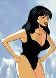 Llamada atractiva Lorna de la muchacha en la playa Imágenes de archivo libres de regalías