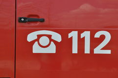 Llamada de emergencia 112 Fotos de archivo libres de regalías