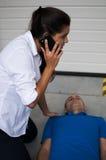 Llamada de emergencia a 911 Imágenes de archivo libres de regalías