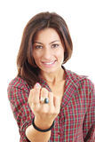 Llamada de la mujer con su finger en el fondo blanco Imagen de archivo libre de regalías