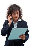 Llamada de la mujer de negocios Fotografía de archivo