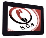 Llamada de las demostraciones de la tableta el SOS para la ayuda urgente Imagenes de archivo