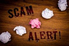 Llamada de motivación alerta de Scam del texto de la escritura La advertencia de la seguridad del significado del concepto para e Imagen de archivo