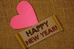 Llamada de motivación de la Feliz Año Nuevo del texto de la escritura Saludo del significado del concepto que celebra ideas del n Imágenes de archivo libres de regalías