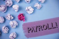 Llamada de motivación de la nómina de pago del texto de la escritura de la palabra El concepto del negocio para los sueldos total Imagenes de archivo