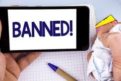 Llamada de motivación prohibida escritura del texto de la escritura La prohibición del significado del concepto en el uso de este Fotografía de archivo
