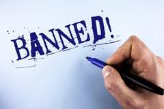 Llamada de motivación prohibida texto de la escritura La prohibición del significado del concepto en el uso de esteroides, ningun Imagen de archivo libre de regalías