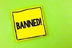 Llamada de motivación prohibida texto de la escritura La prohibición del significado del concepto en el uso de esteroides, ningun Foto de archivo libre de regalías