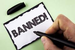 Llamada de motivación prohibida texto de la escritura La prohibición del significado del concepto en el uso de esteroides, ningun Imagenes de archivo