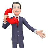 Llamada de Talking Represents Telephone del hombre de negocios y representación de las llamadas 3d Foto de archivo