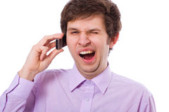 Llamada de teléfono aburrida foto de archivo libre de regalías