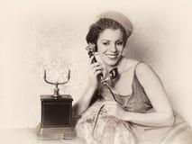 Llamada de teléfono antigua Fotos de archivo