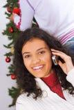 Llamada de teléfono de la Navidad Imagenes de archivo