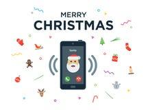 Llamada de teléfono de la Navidad de Santa Claus con Fotos de archivo libres de regalías