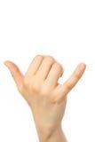 Llamada de teléfono del gesto Imagen de archivo libre de regalías