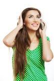 Llamada de teléfono modelo joven femenina Imagenes de archivo