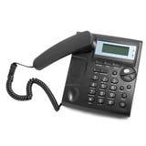 Llamada de teléfono moderna negra con el cordón  Imagenes de archivo