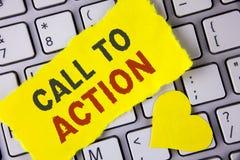 Llamada del texto de la escritura de la palabra a la acción Concepto del negocio para la mayoría de la parte importante de la cam Fotos de archivo libres de regalías