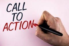 Llamada del texto de la escritura de la palabra a la acción Concepto del negocio para la mayoría de la parte importante de la cam Imagen de archivo libre de regalías