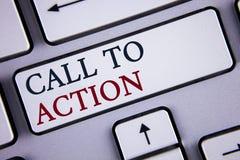 Llamada del texto de la escritura de la palabra a la acción Concepto del negocio para la mayoría de la parte importante de la cam Fotografía de archivo libre de regalías