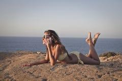 Llamada en la playa Imágenes de archivo libres de regalías