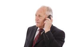 Llamada mayor del hombre de negocios Imagen de archivo libre de regalías