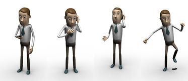 Llamada. personaje 3d. stock de ilustración