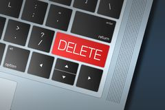 Llamada roja de la cancelación al botón de la acción en un teclado del negro y de la plata Fotografía de archivo libre de regalías
