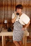 Llamada telefónica de la mujer Foto de archivo libre de regalías