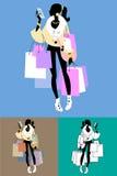Llamadas de Shopaholic del fashionista Imágenes de archivo libres de regalías