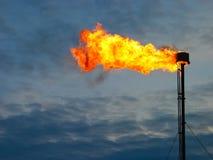 Llamarada ardiente del gas de aceite Imagen de archivo libre de regalías