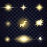 Llamarada de la lente de la estrella de la luz del oro, bokeh, diversas formas de las partículas en fondo transparente Foto de archivo libre de regalías