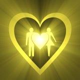 Llamarada de la luz del símbolo del amor de la boda Imagenes de archivo