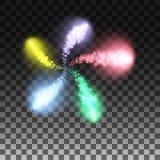 Llamarada de los fuegos artificiales en un fondo transparente Los elementos espirales Modelo festivo de las luces Ejemplo solemne stock de ilustración