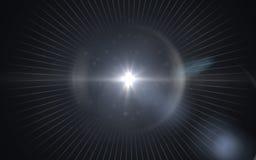 Llamarada digital azul hermosa de la lente en fondo negro Stock de ilustración