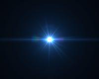 Llamarada digital realista de la lente en fondo negro Fotos de archivo