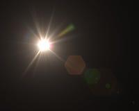 Llamarada digital realista de la lente en fondo negro Imágenes de archivo libres de regalías