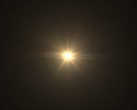 Llamarada digital realista de la lente en fondo negro Foto de archivo