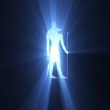 Llamarada egipcia de la luz del símbolo de Anubis Imágenes de archivo libres de regalías