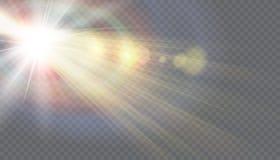 Llamarada especial de la lente de la luz del sol transparente del vector Imágenes de archivo libres de regalías