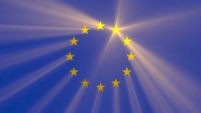 Llamarada ligera brillante de la estrella de la unión europea almacen de video