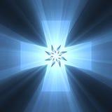 Llamarada ligera brillante del símbolo cruzado azul Imagen de archivo libre de regalías
