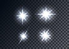 Llamaradas ópticas, fondo transparente Fotografía de archivo libre de regalías