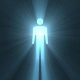 Llamaradas de la luz del símbolo masculino del hombre que brillan intensamente Fotografía de archivo