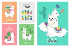 Llamas, alpacas y ejemplos lindos del cactus ilustración del vector