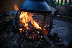 Llamas ardientes del fuego en la naturaleza Preparación del fuego para la barbacoa Llamas del fuego en imagen del movimiento Conc Fotografía de archivo