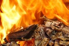 Llamas ardientes y carbón que brilla intensamente XXXL HDR Fotos de archivo libres de regalías